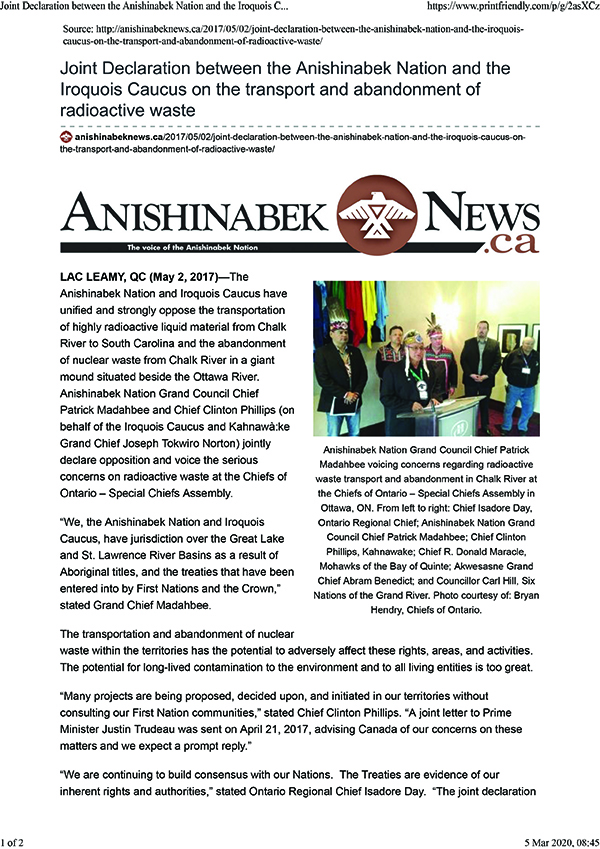 Joint Declaration between the Anishinabek Nation and the Iroquois Caucus on the transport and abandonment of radioactive waste